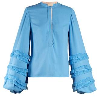 Roksanda Abeni Frayed Detail Balloon Sleeved Crepe Blouse - Womens - Blue