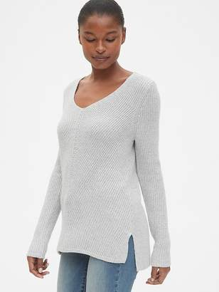 Gap Diagonal Ribbed V-Neck Pullover Sweater Tunic