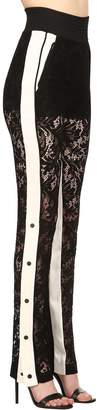 David Koma High Waist Lace & Satin Pants