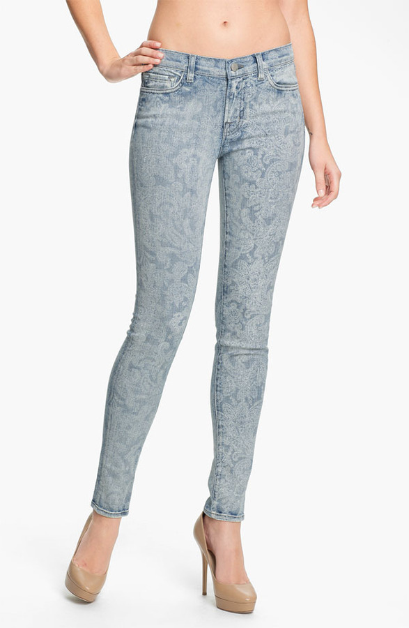 J Brand Print Skinny Leg Jeans (Vintage Bandana)