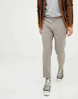 Bershka slim cropped pants in brown