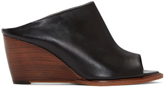Robert Clergerie Black Gule Wedge Sandals $625 thestylecure.com