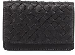 Bottega VenetaBottega Veneta Woven Leather Flap-Style Credit Card Case, Black