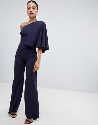 Club L one shoulder jumpsuit with cape sleeve
