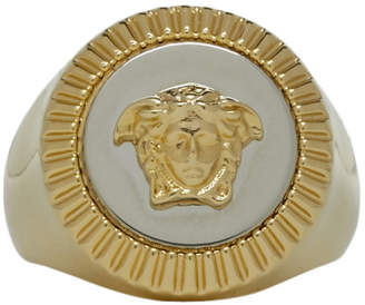 Versace Gold and Silver Guilloche Medusa Ring