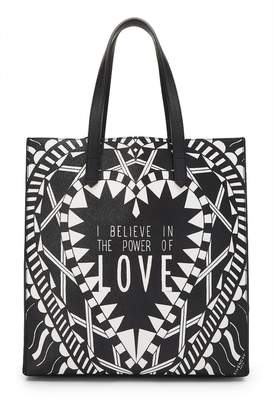 Givenchy Black Coated Canvas Power of Love North-South Tote