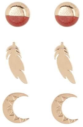 Loren Olivia Ball, Feather, & Moon Stud Earrings Set