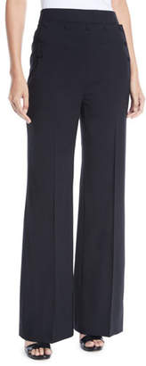 Tory Burch Wide-Leg Tropical Wool Pants