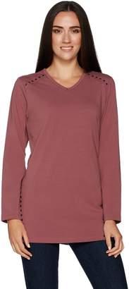 Denim & Co. Long Sleeve V-Neck Tunic Top w/ Stud Detail