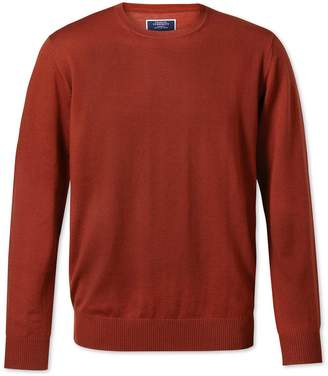 Charles Tyrwhitt Rust Crew Neck Merino Wool Sweater Size Large
