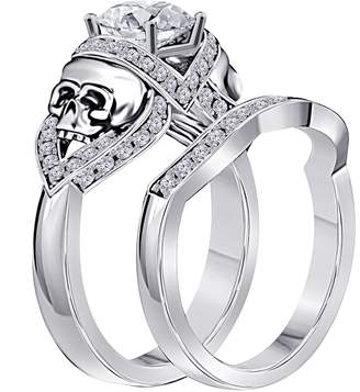 RSJ Global 14k Rhodium Plated Alloy 2.00TCW Cubic Zirconia Round Skull Ring-Wedding Band Engagement Bridal Ring Set Fashion Ring for Womens Size 4 to 11