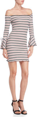 She + Sky Striped Off-the-Shoulder Bodycon Dress