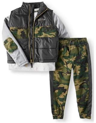 Blac Label Puffer Vest, Tee and Twill Jogger 3 Piece Set (Little Boys)