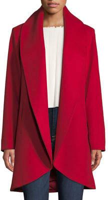 Fleurette Curve-Front Wool-Cashmere Clutch Coat