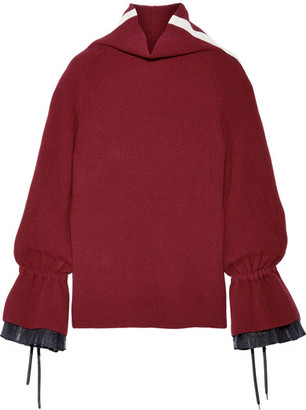 Organza And Grosgrain-trimmed Wool-blend Sweater - Claret