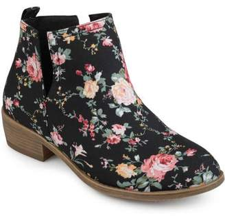 Brinley Co. Women's Floral Fabric Round Toe Stacked Heel Side Slit Booties