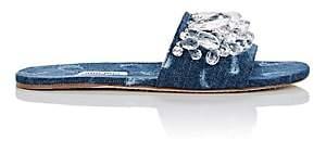 Miu Miu Women's Crystal-Embellished Denim Slide Sandals - Bleu