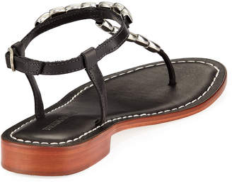 Bernardo Tristan Studded Flat Sandals, Black