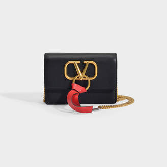 Valentino Vring Pouch In Black And Red Calfskin