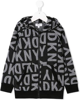 DKNY logo printed hooded jacket