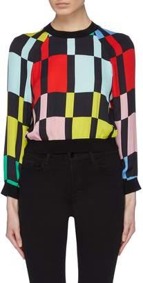 Alice + Olivia 'Calvin' colourblock geometric print cropped raglan sweatshirt