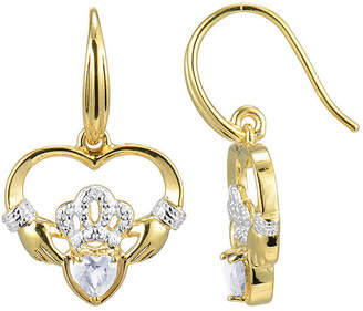 JCPenney FINE JEWELRY Heart-Shaped Genuine White Topaz and Diamond-Accent Claddagh Earrings