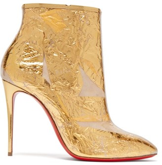 Christian Louboutin Booty Cap 100 Creased Foil Perspex Ankle Boots - Womens - Gold