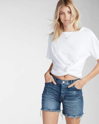 Express High Waisted Frayed Denim Shorts