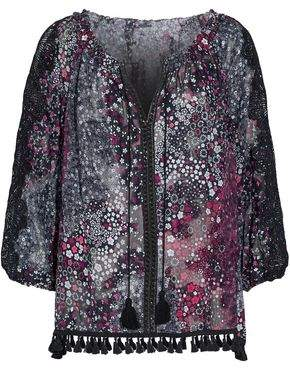 Elie Tahari Tayla Guipure Lace-Paneled Tasseled Floral-Print Silk-Blend Blouse