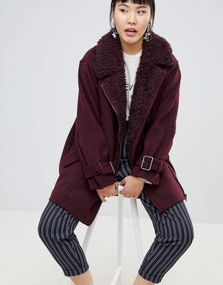 Monki Faux Fur Collar Coat