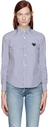 Comme des Garçons Play Blue & White Striped Heart Shirt $270 thestylecure.com