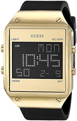 GUESS Men's U0595G3 Trendy Gold-Tone Stainless Steel Watch with Digital Dial and Black Strap Buckle