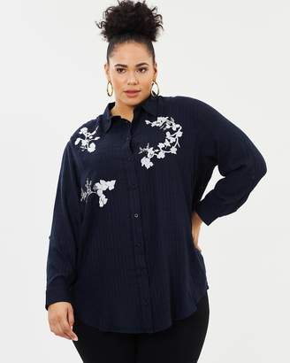 Evans Flower Embroidered Check Shirt