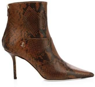 Jimmy Choo Beyla Snake-Embossed Leather Point-Toe Booties