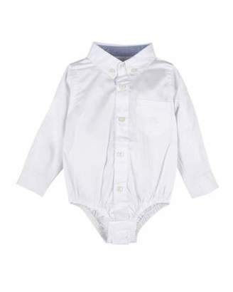Andy & Evan Long-Sleeve Collared Oxford Bodysuit, Size 3-24 Months