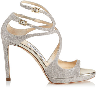 Jimmy Choo LANCE/PF 100 Platinum Ice Dusty Glitter Fabric Strappy Sandals