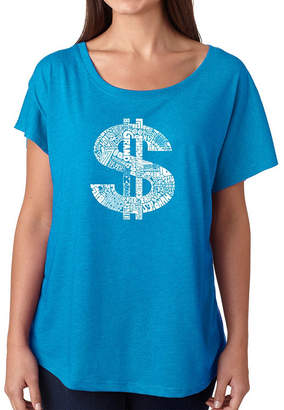 LOS ANGELES POP ART Los Angeles Pop Art Women's Loose Fit Dolman Cut Word Art Shirt - Dollar Sign