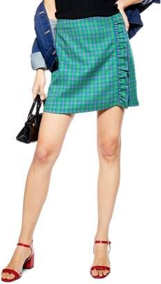 Topshop Check Frill Miniskirt