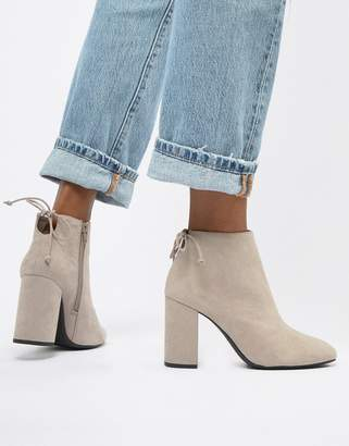 Pull&Bear block heel boot in Gray