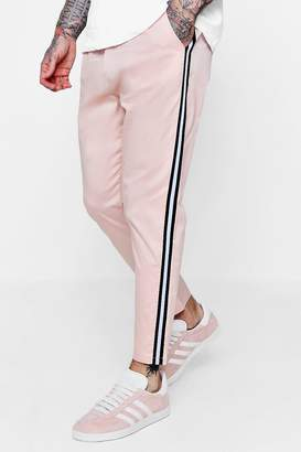boohoo Jogger Style Stretch Chino With Side Taping