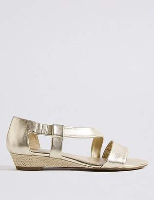 Marks and Spencer Wedge Heel Leather Asymmetric Sandals