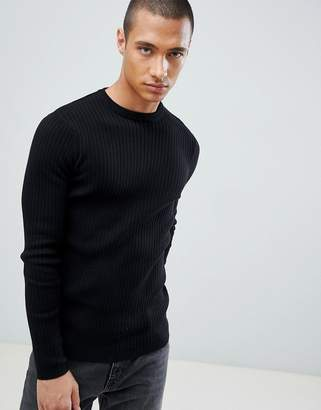 New Look ribbed muscle fit sweater in black