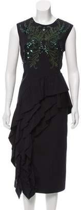 Dries Van Noten Ruffle-Trimmed Midi Dress