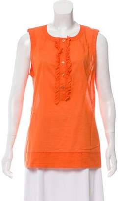 Tory Burch Sleeveless Ruffle-Accented Top