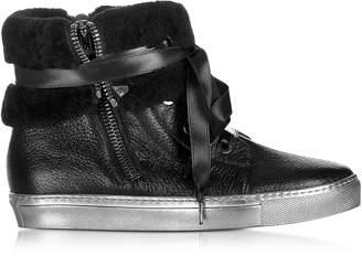 Loriblu Cuffed Black Leather Sneaker