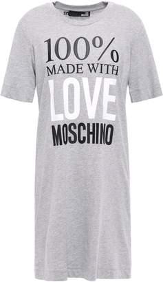 Love Moschino Printed Melange Cotton-jersey Mini Dress