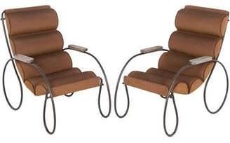 Pair of Iron Patio Sleigh Chairs