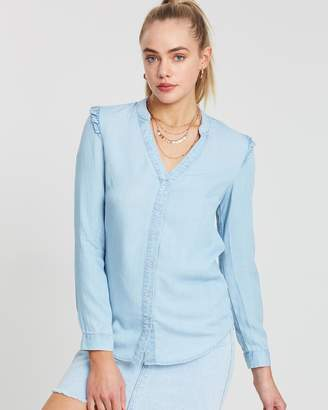 Oasis Ruffle V-Neck Tencel Shirt