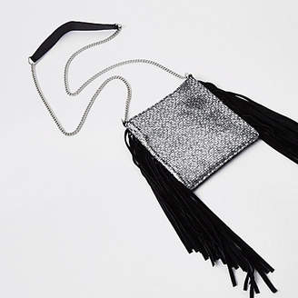 River Island Womens Black leather tassel mini cross body bag