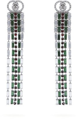 Gucci Tennis Crystal Embellished Brass Drop Earrings - Womens - Green
